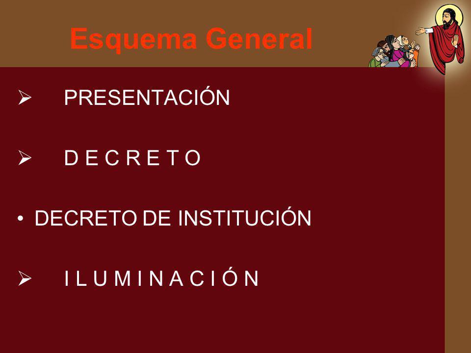 Esquema General PRESENTACIÓN D E C R E T O DECRETO DE INSTITUCIÓN I L U M I N A C I Ó N