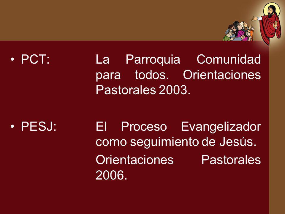 PCT:La Parroquia Comunidad para todos. Orientaciones Pastorales 2003. PESJ:El Proceso Evangelizador como seguimiento de Jesús. Orientaciones Pastorale