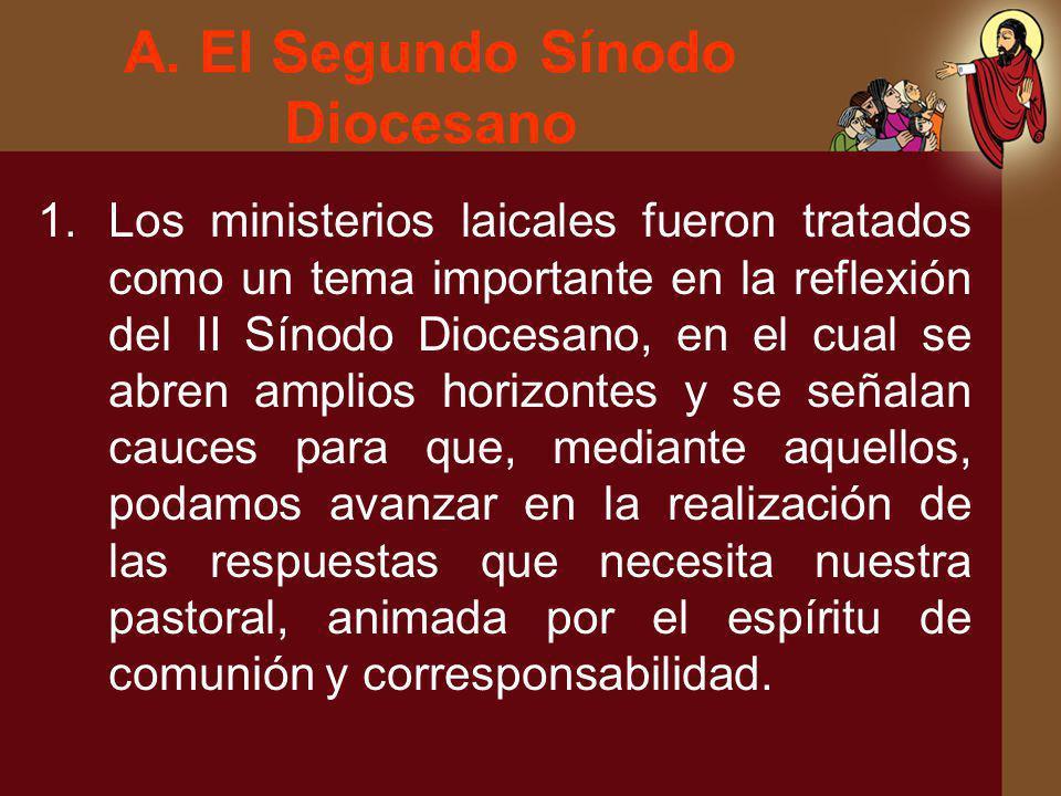 A. El Segundo Sínodo Diocesano 1.Los ministerios laicales fueron tratados como un tema importante en la reflexión del II Sínodo Diocesano, en el cual
