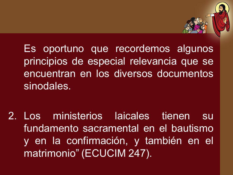 Es oportuno que recordemos algunos principios de especial relevancia que se encuentran en los diversos documentos sinodales. 2.Los ministerios laicale