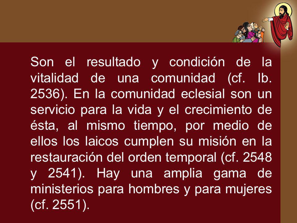 Son el resultado y condición de la vitalidad de una comunidad (cf. Ib. 2536). En la comunidad eclesial son un servicio para la vida y el crecimiento d