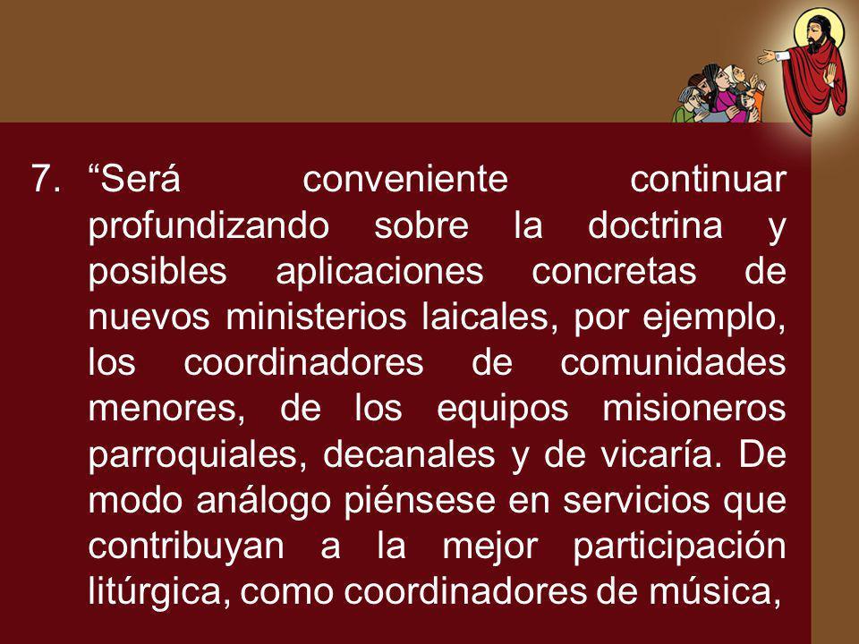 7.Será conveniente continuar profundizando sobre la doctrina y posibles aplicaciones concretas de nuevos ministerios laicales, por ejemplo, los coordi