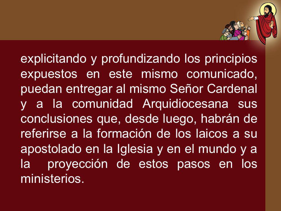 explicitando y profundizando los principios expuestos en este mismo comunicado, puedan entregar al mismo Señor Cardenal y a la comunidad Arquidiocesan