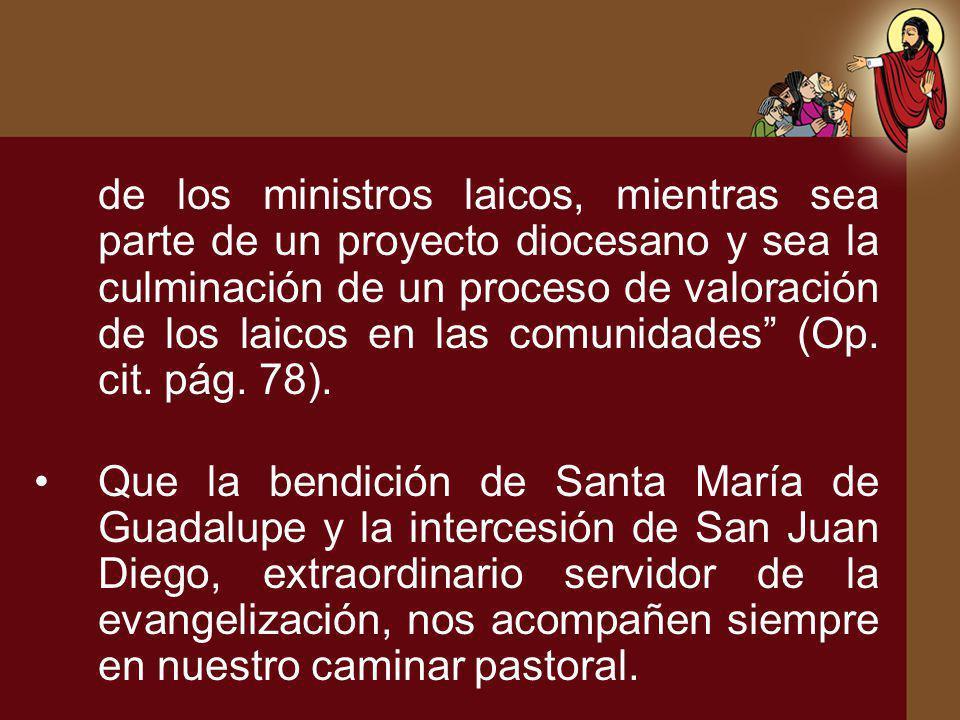 de los ministros laicos, mientras sea parte de un proyecto diocesano y sea la culminación de un proceso de valoración de los laicos en las comunidades