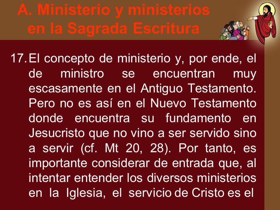 A. Ministerio y ministerios en la Sagrada Escritura 17.El concepto de ministerio y, por ende, el de ministro se encuentran muy escasamente en el Antig
