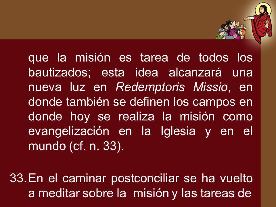 que la misión es tarea de todos los bautizados; esta idea alcanzará una nueva luz en Redemptoris Missio, en donde también se definen los campos en don