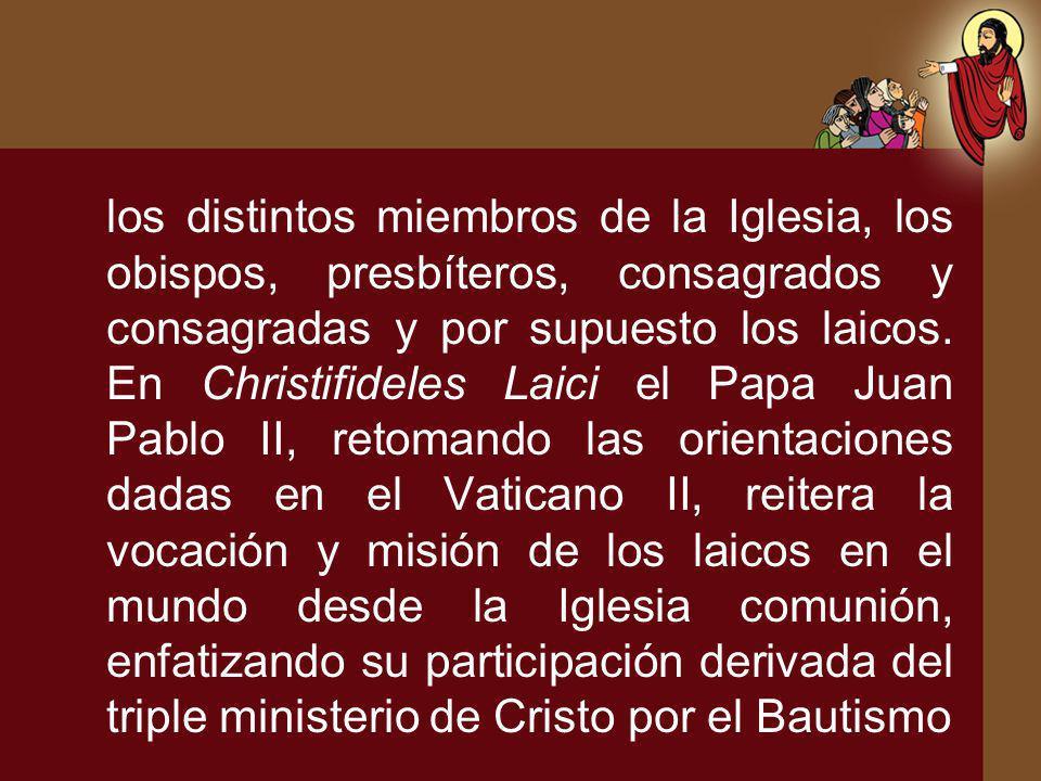 los distintos miembros de la Iglesia, los obispos, presbíteros, consagrados y consagradas y por supuesto los laicos. En Christifideles Laici el Papa J