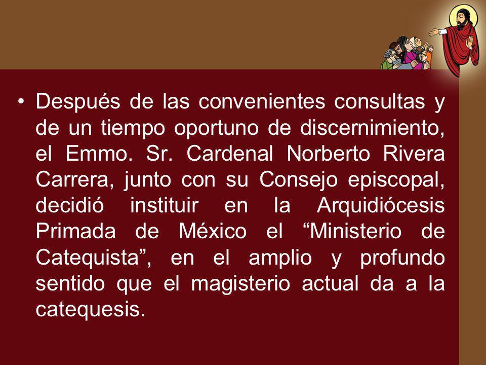 El presente trabajo recoge: El Decreto de Institución con el cual se instituye en la Arquidiócesis de México el Ministerio de Catequista.