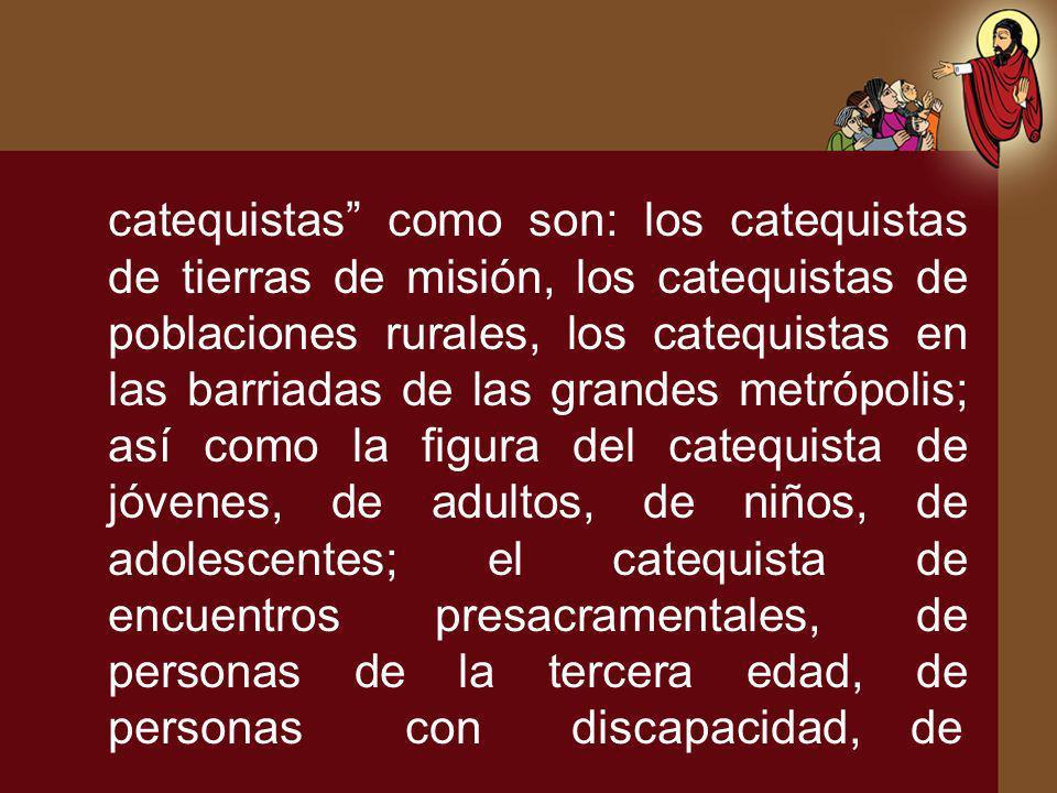 catequistas como son: los catequistas de tierras de misión, los catequistas de poblaciones rurales, los catequistas en las barriadas de las grandes me
