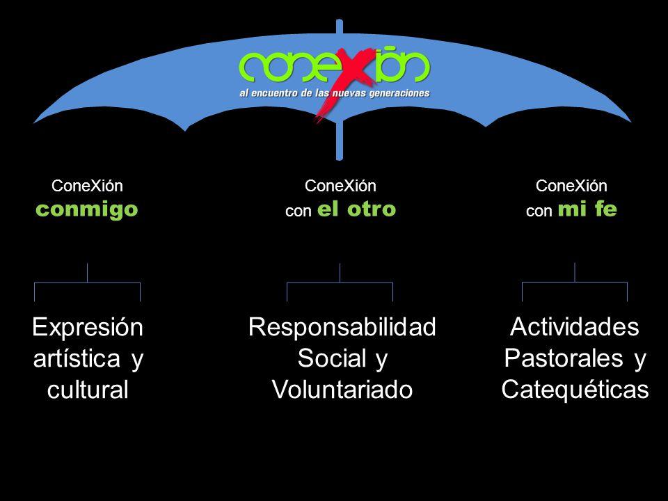 ConeXión conmigo ConeXión con el otro ConeXión con mi fe Expresión artística y cultural Responsabilidad Social y Voluntariado Actividades Pastorales y
