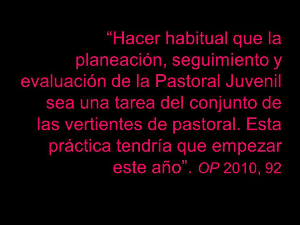 Hacer habitual que la planeación, seguimiento y evaluación de la Pastoral Juvenil sea una tarea del conjunto de las vertientes de pastoral. Esta práct