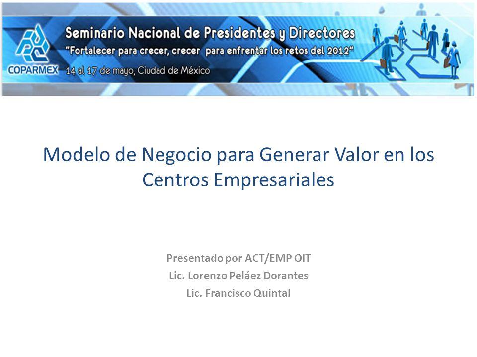Modelo de Negocio para Generar Valor en los Centros Empresariales Presentado por ACT/EMP OIT Lic.