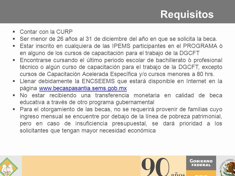 Contar con la CURP Ser menor de 26 años al 31 de diciembre del año en que se solicita la beca.
