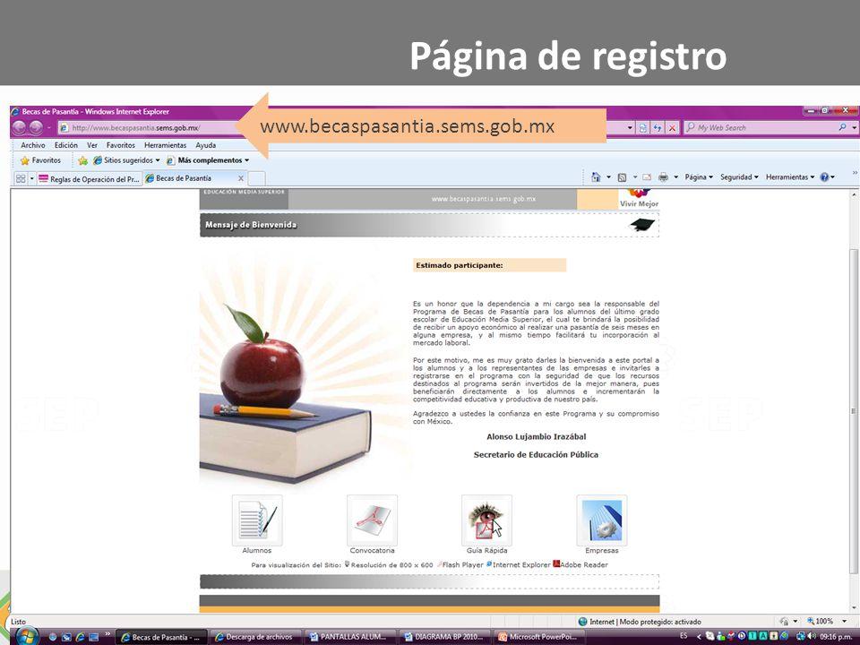 Página de registro www.becaspasantia.sems.gob.mx