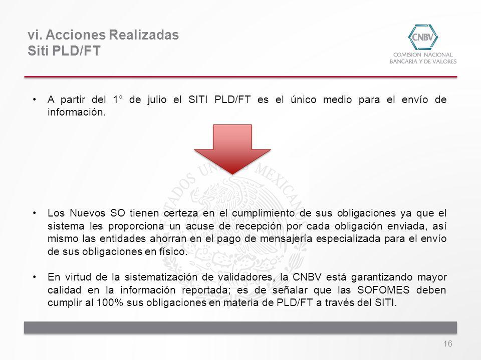 16 A partir del 1° de julio el SITI PLD/FT es el único medio para el envío de información. Los Nuevos SO tienen certeza en el cumplimiento de sus obli