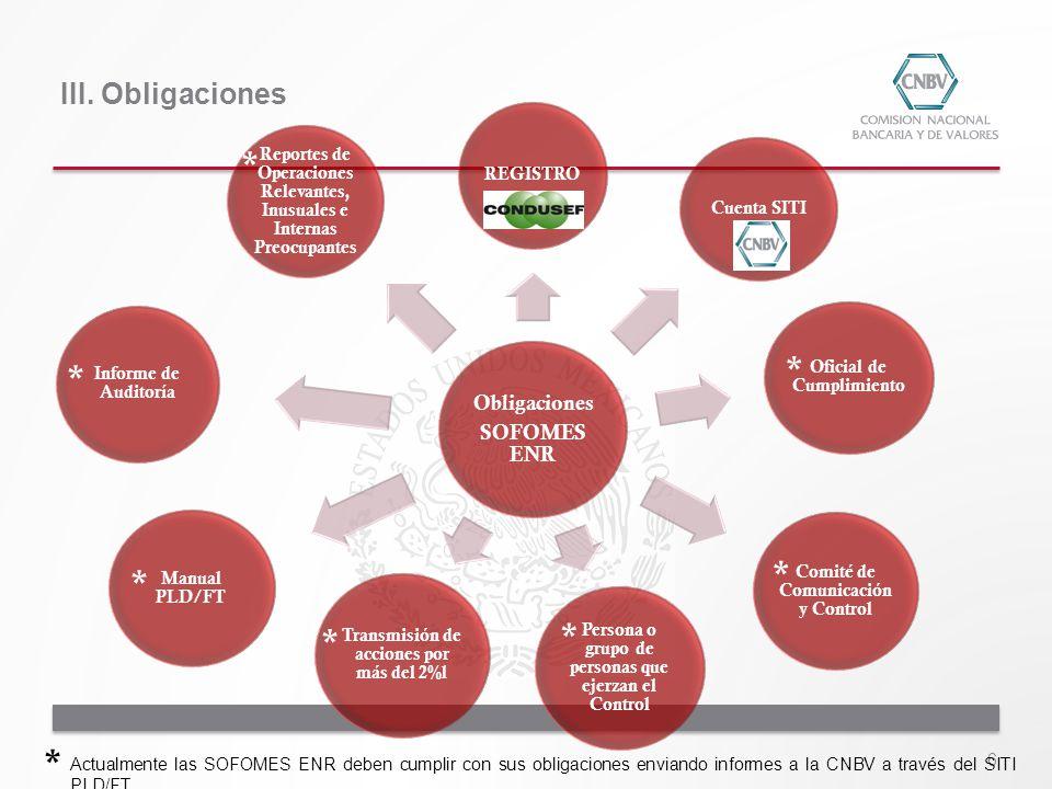 6 Actualmente las SOFOMES ENR deben cumplir con sus obligaciones enviando informes a la CNBV a través del SITI PLD/FT III. Obligaciones Obligaciones S