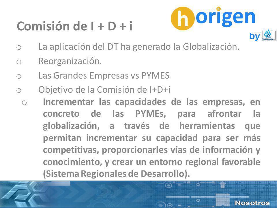 h origen h by Comisión de I + D + i o La aplicación del DT ha generado la Globalización.