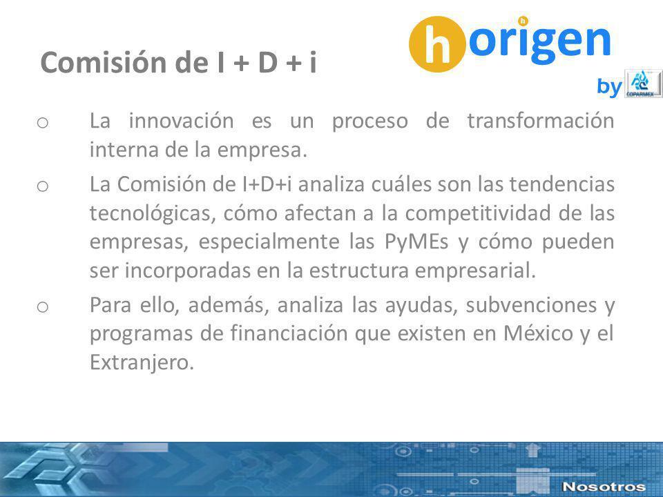 h origen h by Comisión de I + D + i o La innovación es un proceso de transformación interna de la empresa.