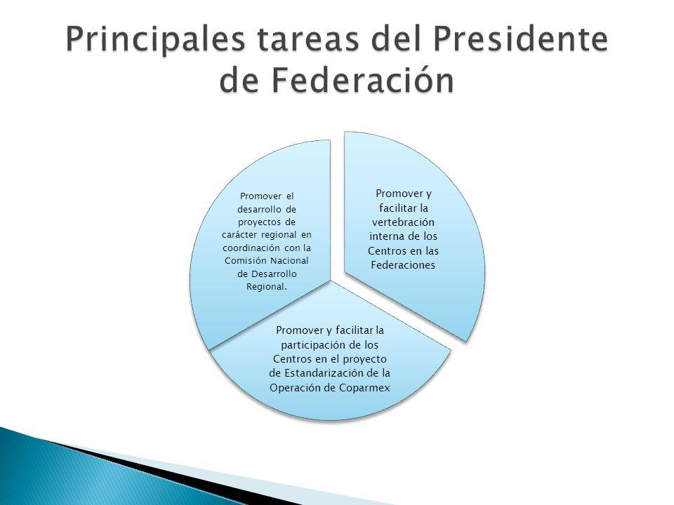 Promover y facilitar la vertebración interna de los Centros en las Federaciones Promover y facilitar la participación de los Centros en el proyecto de Estandarización de la Operación de Coparmex Promover el desarrollo de proyectos de carácter regional en coordinación con la Comisión Nacional de Desarrollo Regional.