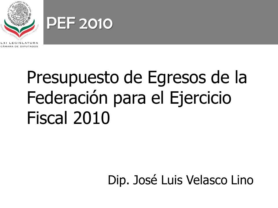PEF 2010 Presupuesto de Egresos de la Federación para el Ejercicio Fiscal 2010 Dip. José Luis Velasco Lino
