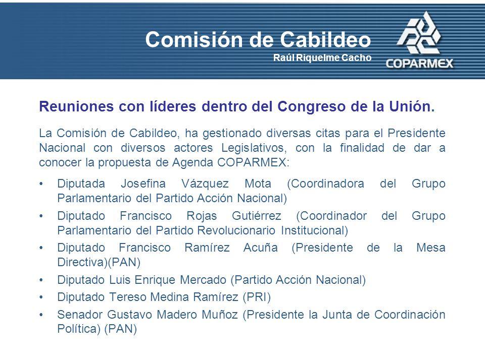 Comisión de Cabildeo Raúl Riquelme Cacho Reuniones con líderes dentro del Congreso de la Unión.