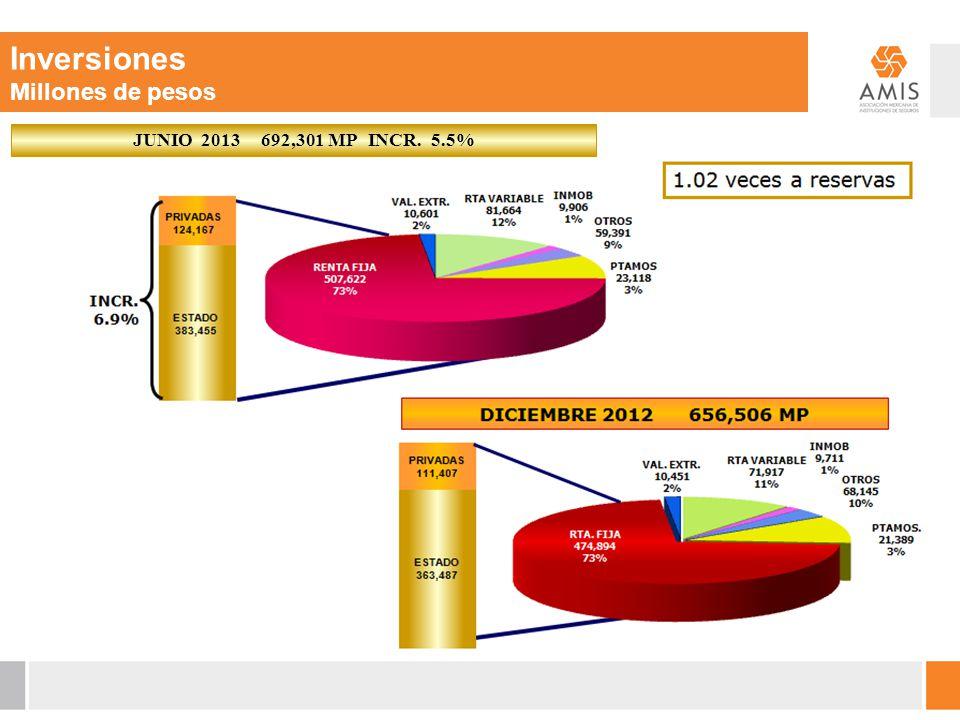 Inversiones Millones de pesos JUNIO 2013 692,301 MP INCR. 5.5%