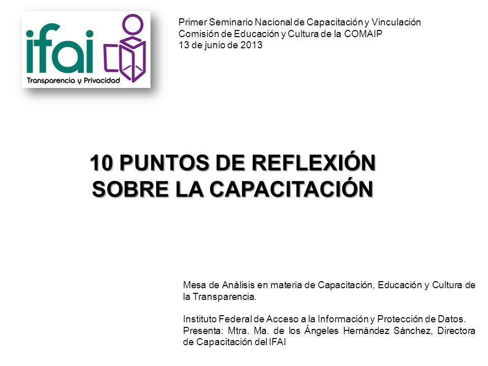 Mesa de Análisis en materia de Capacitación, Educación y Cultura de la Transparencia.