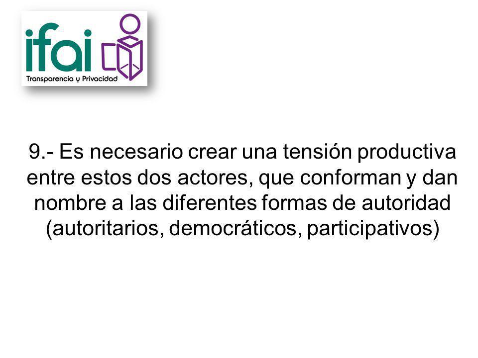 9.- Es necesario crear una tensión productiva entre estos dos actores, que conforman y dan nombre a las diferentes formas de autoridad (autoritarios, democráticos, participativos)