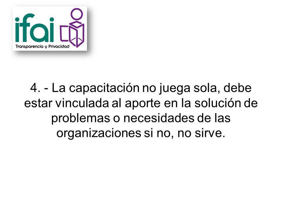4. - La capacitación no juega sola, debe estar vinculada al aporte en la solución de problemas o necesidades de las organizaciones si no, no sirve.