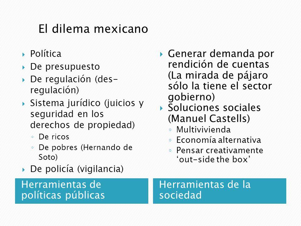 Herramientas de políticas públicas Política De presupuesto De regulación (des- regulación) Sistema jurídico (juicios y seguridad en los derechos de pr