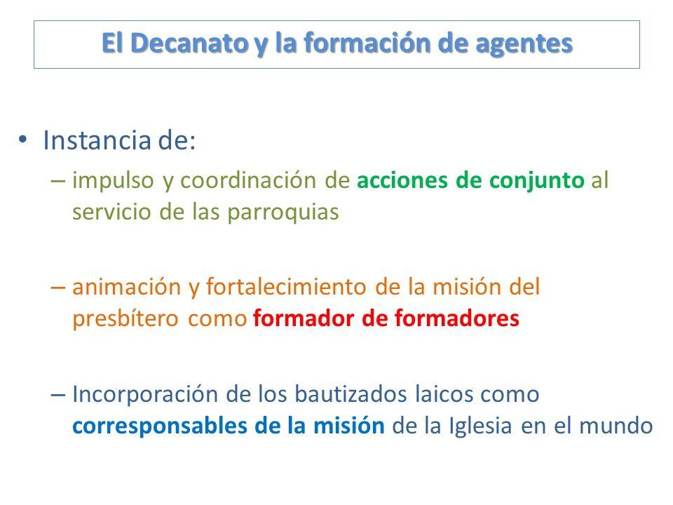 Instancia de: –i–impulso y coordinación de acciones de conjunto al servicio de las parroquias –a–animación y fortalecimiento de la misión del presbíte