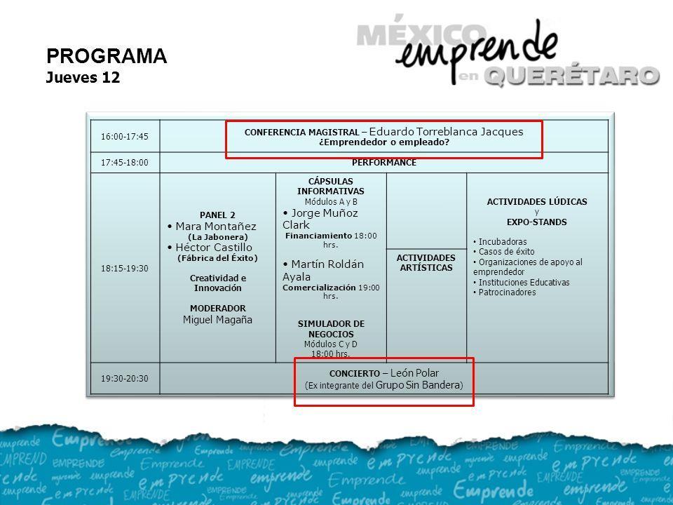 16:00-17:45 CONFERENCIA MAGISTRAL – Eduardo Torreblanca Jacques ¿Emprendedor o empleado.
