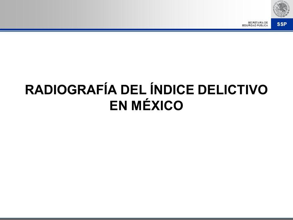 SSP SECRETARÍA DE SEGURIDAD PÚBLICA RADIOGRAFÍA DEL ÍNDICE DELICTIVO EN MÉXICO
