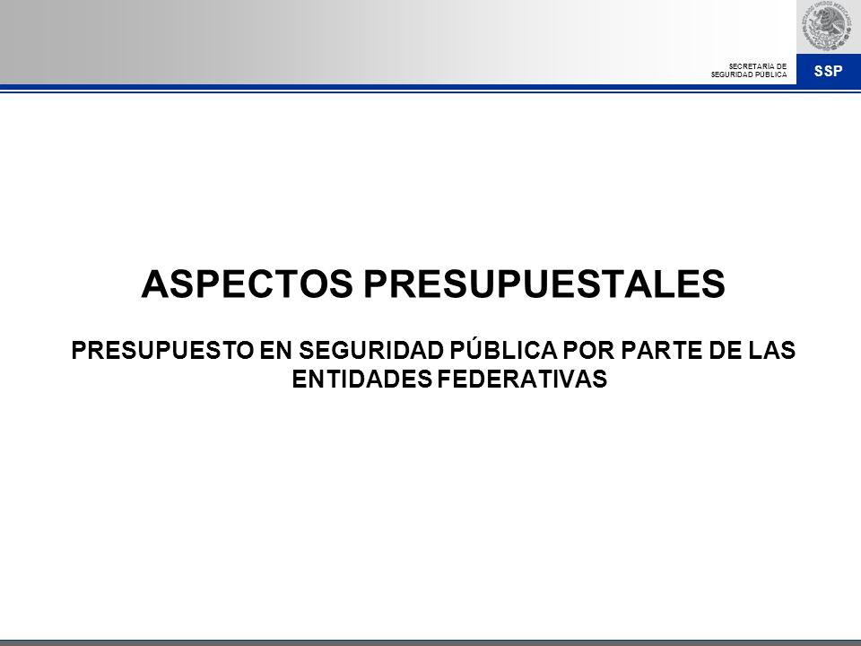 SSP SECRETARÍA DE SEGURIDAD PÚBLICA ASPECTOS PRESUPUESTALES PRESUPUESTO EN SEGURIDAD PÚBLICA POR PARTE DE LAS ENTIDADES FEDERATIVAS