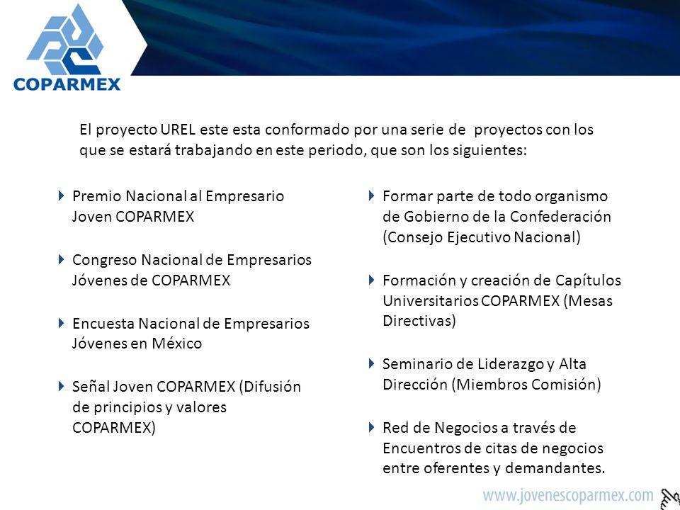 El proyecto UREL este esta conformado por una serie de proyectos con los que se estará trabajando en este periodo, que son los siguientes: Premio Naci