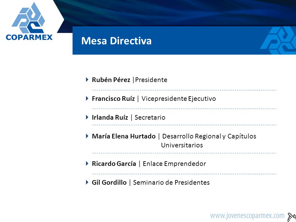 Mesa Directiva Rubén Pérez |Presidente Francisco Ruíz | Vicepresidente Ejecutivo Irlanda Ruíz | Secretario María Elena Hurtado | Desarrollo Regional y