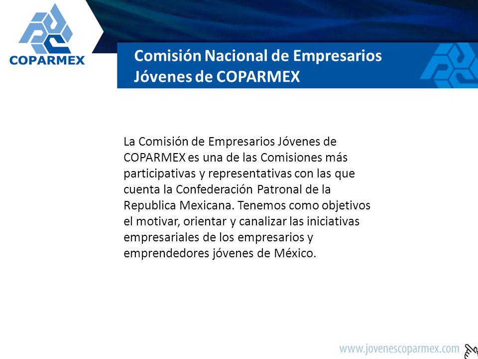 Comisión Nacional de Empresarios Jóvenes de COPARMEX La Comisión de Empresarios Jóvenes de COPARMEX es una de las Comisiones más participativas y repr