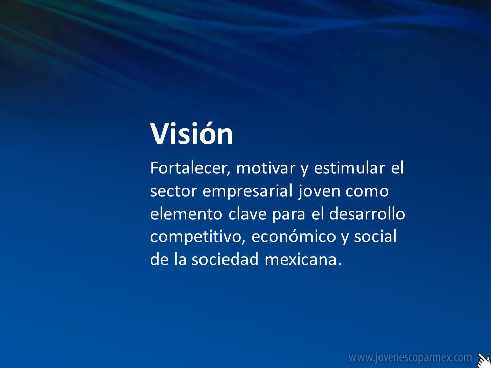 Visión Fortalecer, motivar y estimular el sector empresarial joven como elemento clave para el desarrollo competitivo, económico y social de la socied