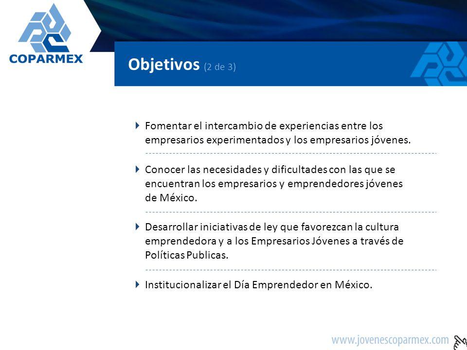 Objetivos (3 de 3) Reconocer a los Empresarios Jóvenes destacados de México por su trayectoria y compromiso.