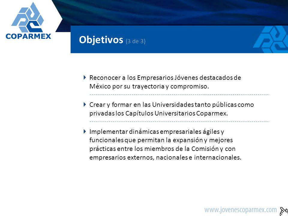 Objetivos (3 de 3) Reconocer a los Empresarios Jóvenes destacados de México por su trayectoria y compromiso. Crear y formar en las Universidades tanto