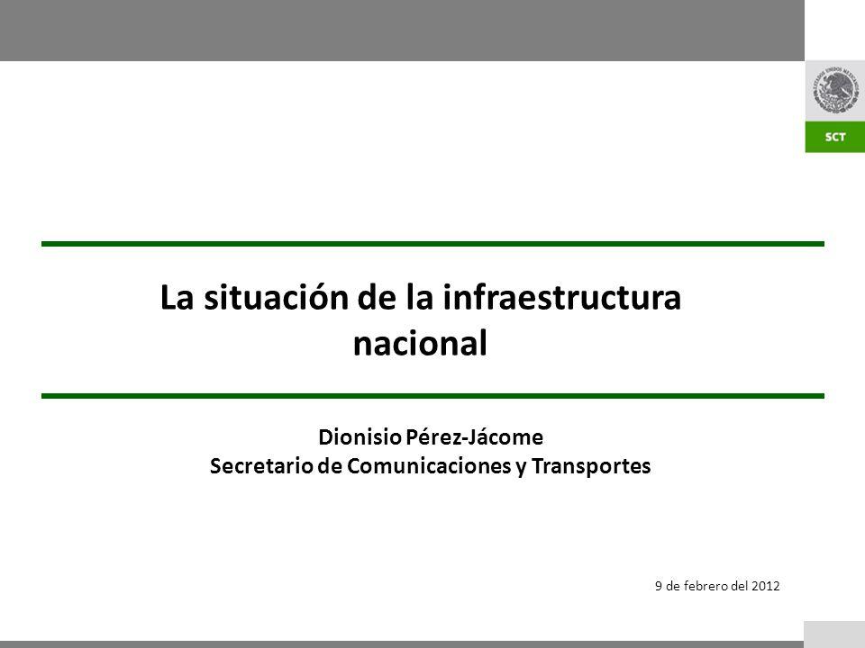 9 de febrero del 2012 La situación de la infraestructura nacional Dionisio Pérez-Jácome Secretario de Comunicaciones y Transportes