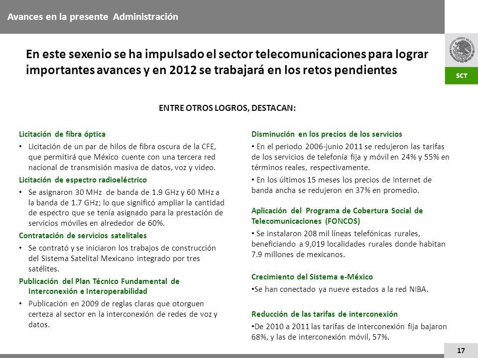 17 En este sexenio se ha impulsado el sector telecomunicaciones para lograr importantes avances y en 2012 se trabajará en los retos pendientes Licitac