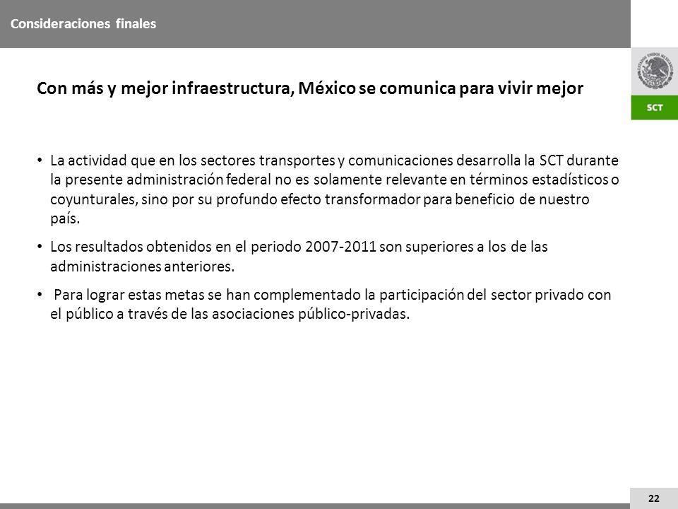 22 La actividad que en los sectores transportes y comunicaciones desarrolla la SCT durante la presente administración federal no es solamente relevant
