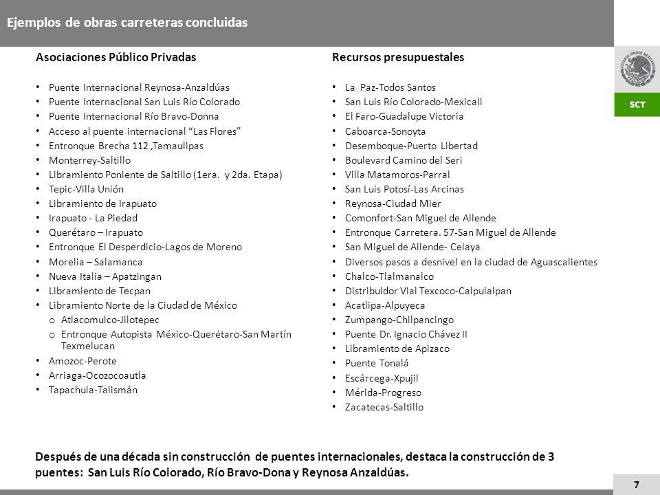 7 Ejemplos de obras carreteras concluidas Asociaciones Público Privadas Puente Internacional Reynosa-Anzaldúas Puente Internacional San Luis Río Color