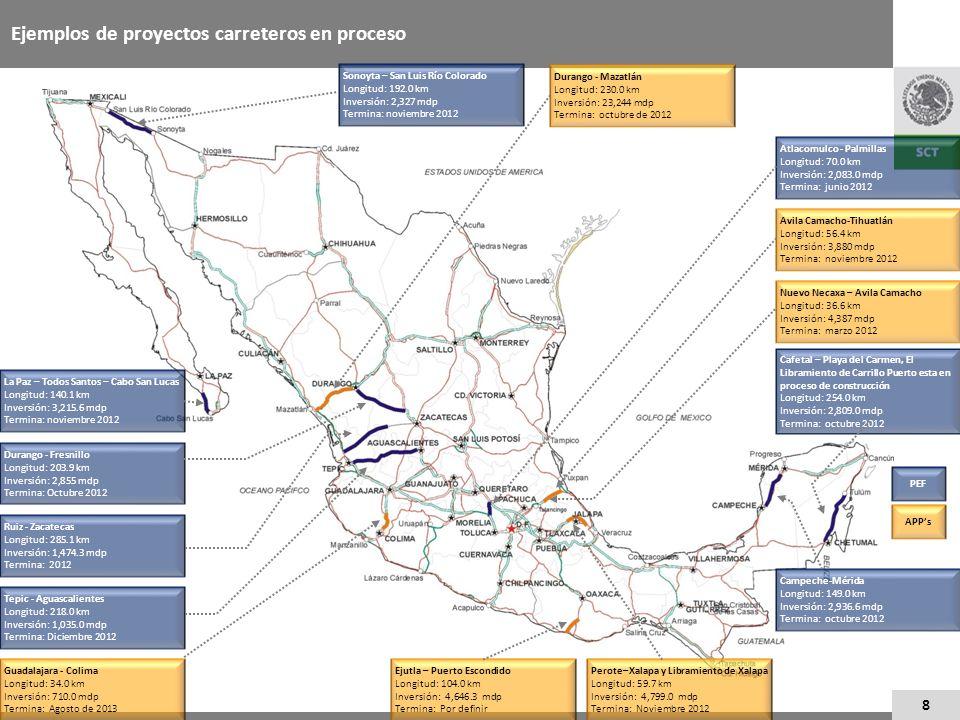 8 Ejemplos de proyectos carreteros en proceso La Paz – Todos Santos – Cabo San Lucas Longitud: 140.1 km Inversión: 3,215.6 mdp Termina: noviembre 2012