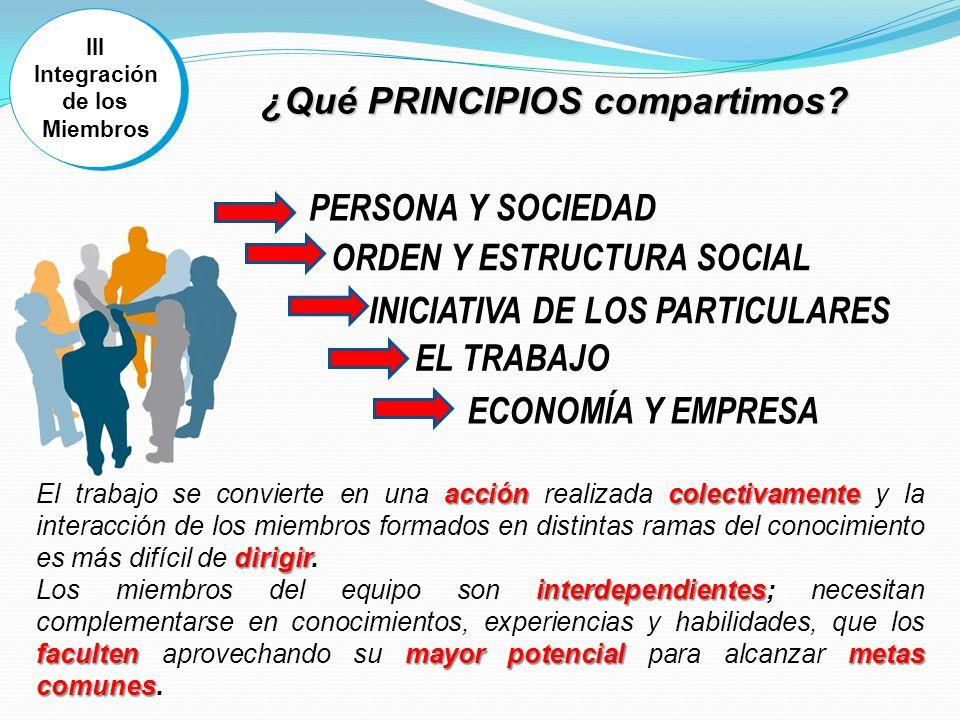 III Integración de los Miembros III Integración de los Miembros accióncolectivamente dirigir El trabajo se convierte en una acción realizada colectivamente y la interacción de los miembros formados en distintas ramas del conocimiento es más difícil de dirigir.