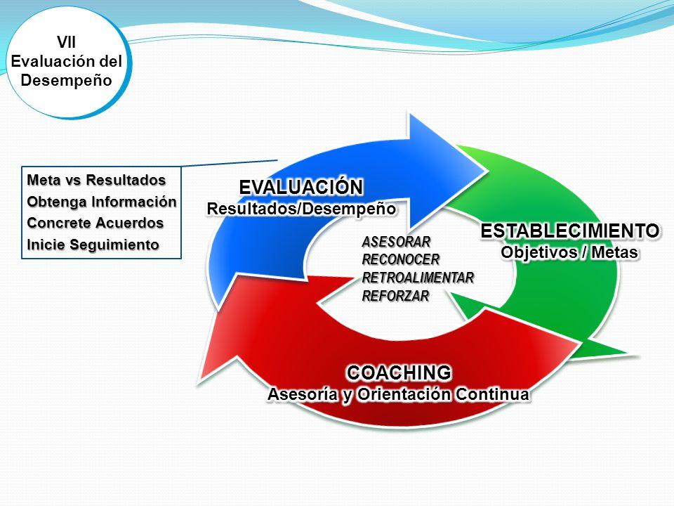 VII Evaluación del Desempeño VII Evaluación del Desempeño ASESORARRECONOCERRETROALIMENTARREFORZAR Meta vs Resultados Obtenga Información Concrete Acuerdos Inicie Seguimiento