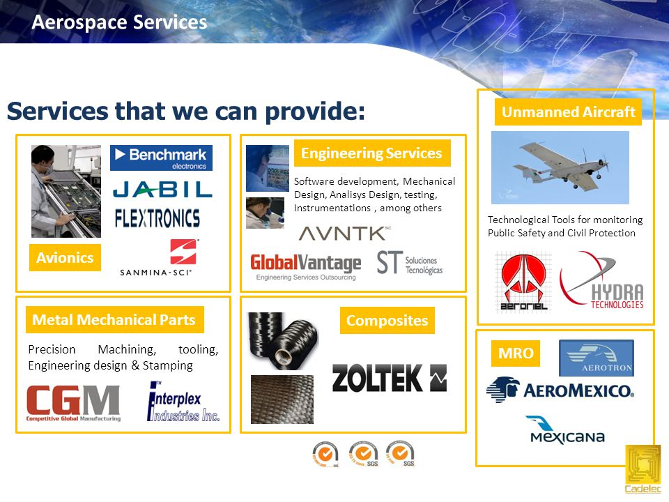 Services that we can provide: Avionics Engineering Services Software development, Mechanical Design, Analisys Design, testing, Instrumentations, among others Unmanned Aircraft Technological Tools for monitoring Public Safety and Civil Protection Metal Mechanical Parts Precision Machining, tooling, Engineering design & Stamping Composites MRO Aerospace Services