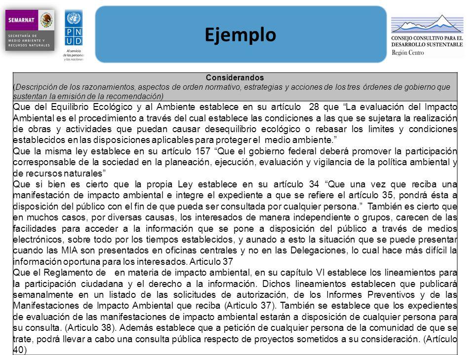 Ejemplo Considerandos (Descripción de los razonamientos, aspectos de orden normativo, estrategias y acciones de los tres órdenes de gobierno que suste