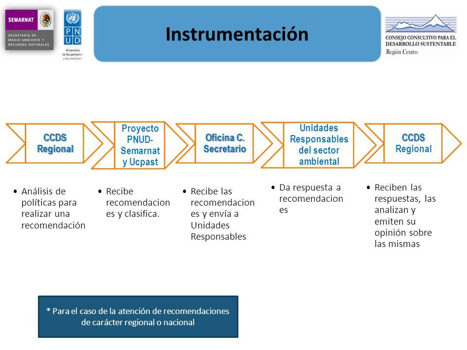 Instrumentación CCDS Regional Análisis de políticas para realizar una recomendación Proyecto PNUD- Semarnat y Ucpast Recibe recomendacion es y clasifi